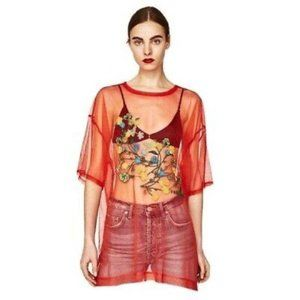 NWT Zara Red Mesh Embroidered Oversized Top Shirt